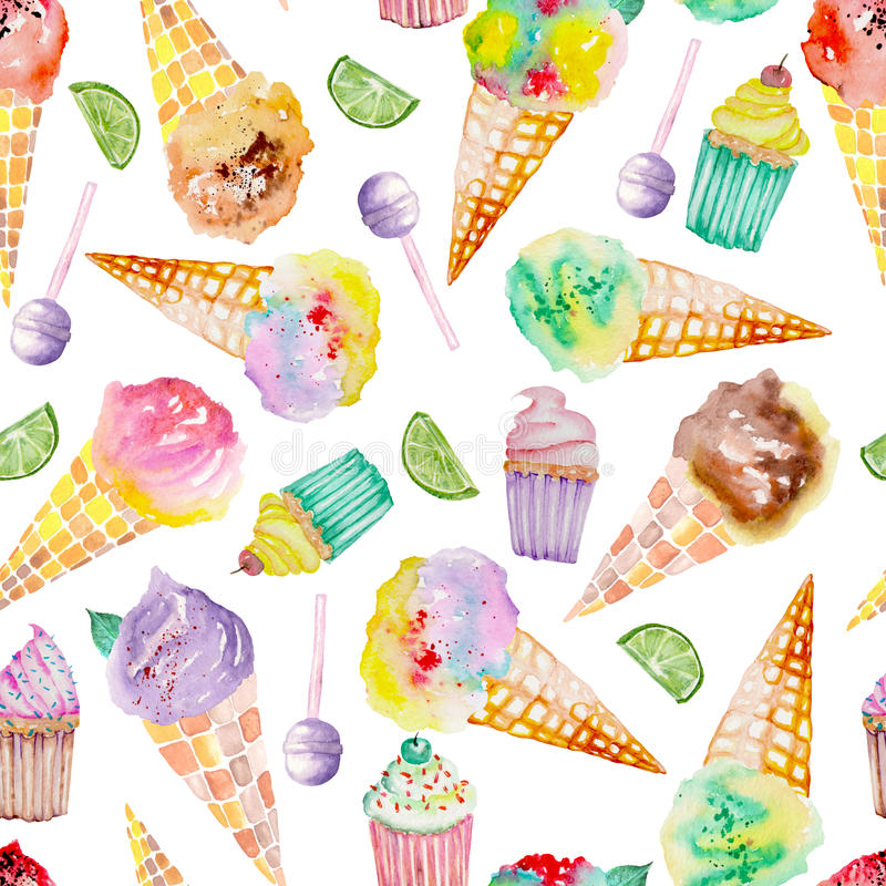 Free Ice Cream And Confection Pattern On A White Background Stock Images - 56973594