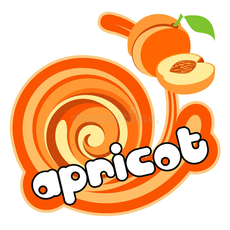 Ice cream apricot. Apricot. Twister, spiral in the color of apricot. Can be used as a label, a logo sticker. Illustration of ice cream or simply the product with vector illustration