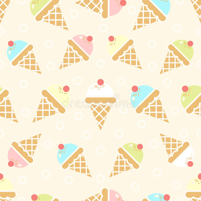 Seamless Wallpaper Pattern With Ice Cream Icons Stock: Ice Cream Background Stock Vector. Illustration Of
