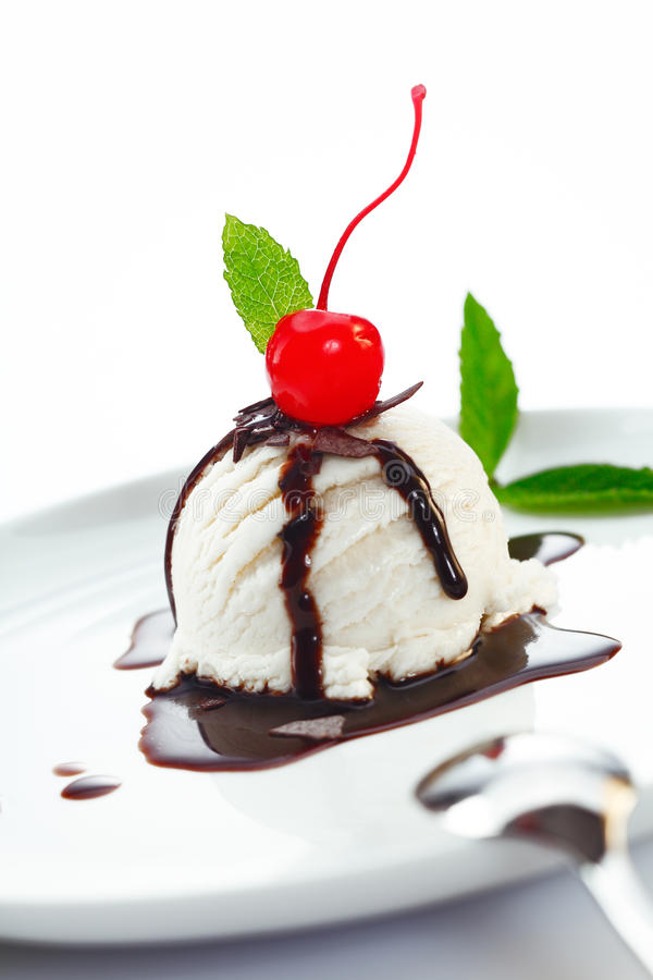Download Ice Cream Ball Topped With Chocolate Stock Photo - Image: 25664008