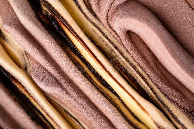 Ice cream banana chocolate cream texture, pattern, surface, cold milk dessert, summer, top view. Close up macro royalty free stock photos