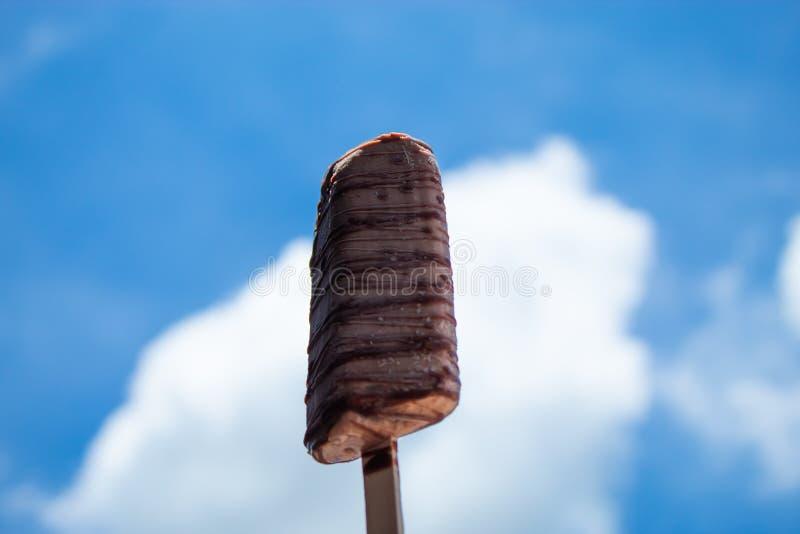 Ice cream bars, chocolate, with a clear sky stock photos