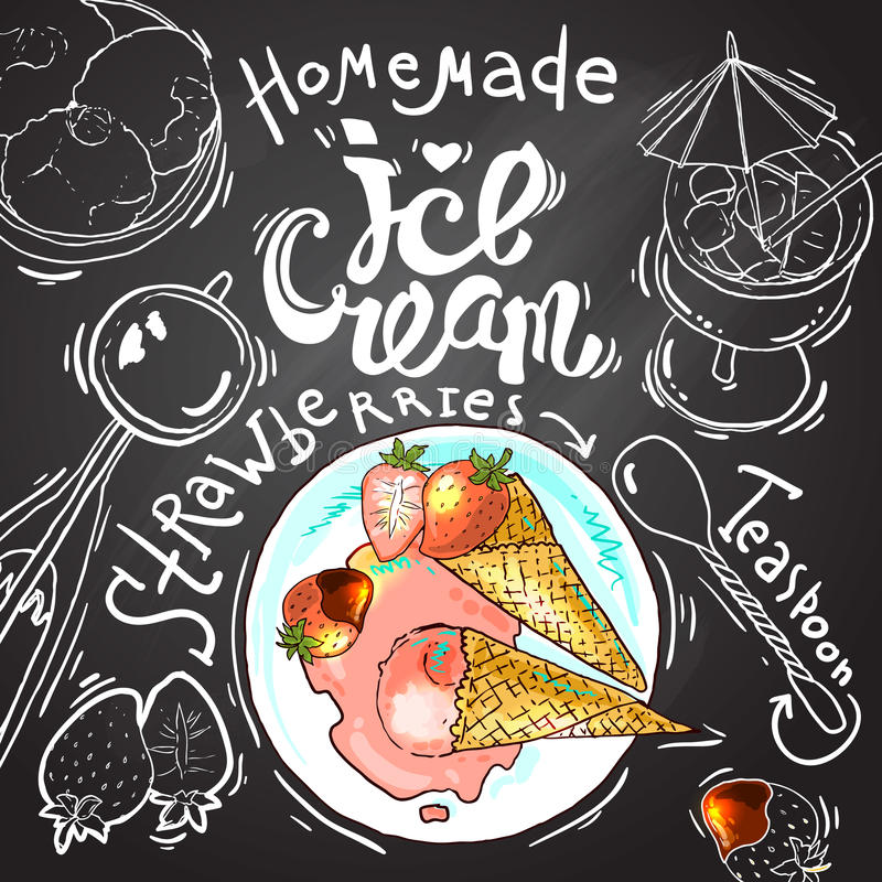 Ice cream. Beautiful hand drawn illustration homemade ice cream on the chalkboard background top view.Oll elements are in clipping mask royalty free illustration