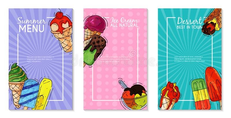 Ice cream cards summer natural fresh and cold sweet food vector illustration. Healthy menu design homemade tasty dairy royalty free illustration