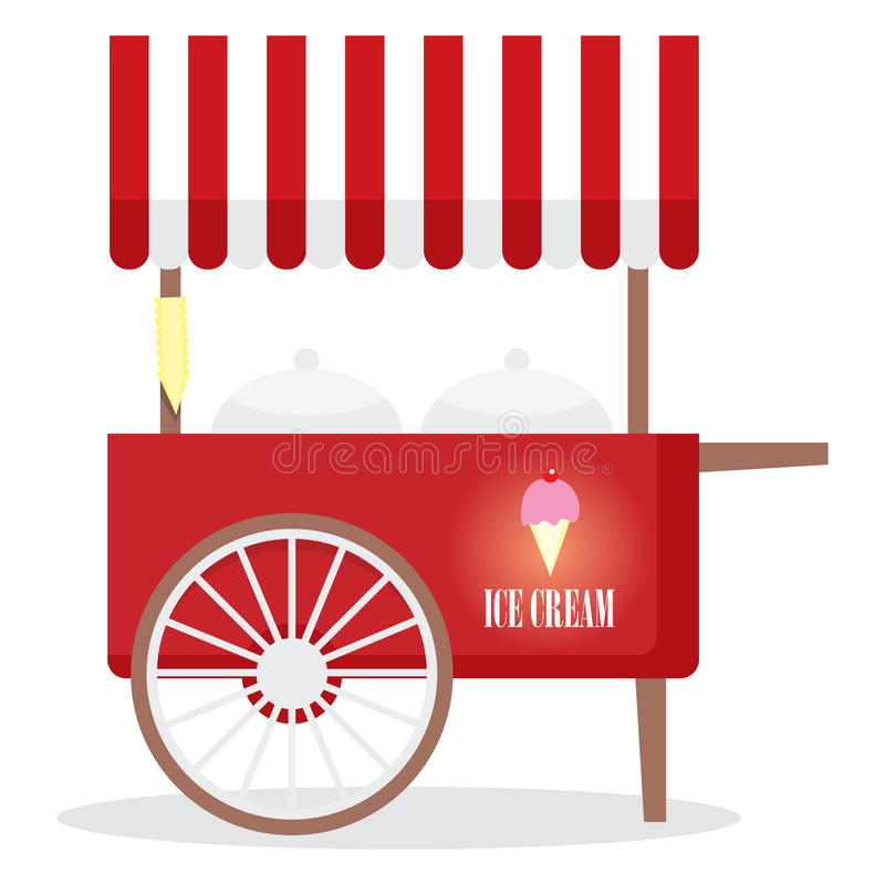 Ice Cream Cart. Red ice cream cart begging for invasion vector illustration