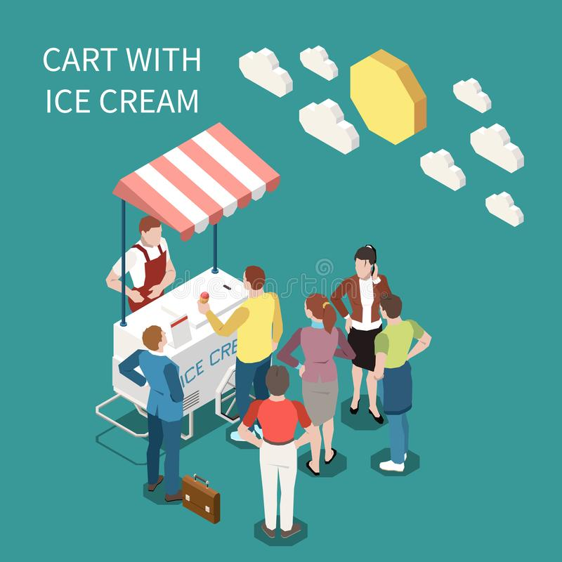 Ice Cream Cart Isometric Background. With seller and buyers standing near street cart with sweet frozen food vector illustration vector illustration