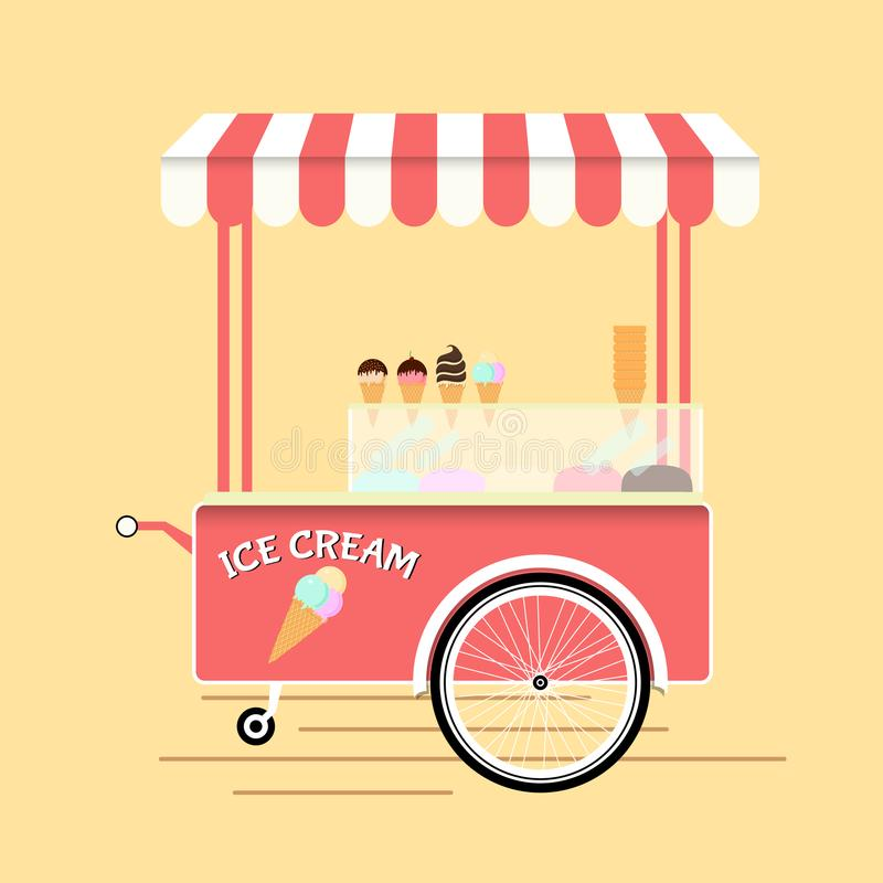 Ice Cream Cart Market Card Isolated on White Background. Vector illustration stock illustration