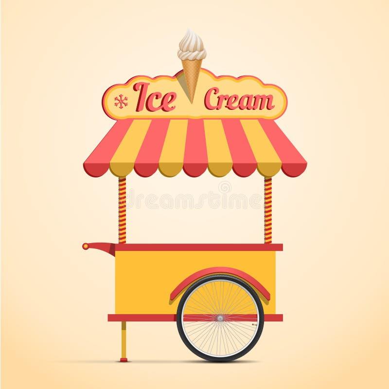 Ice cream cart. Retro vector ice cream cart on beige background stock illustration