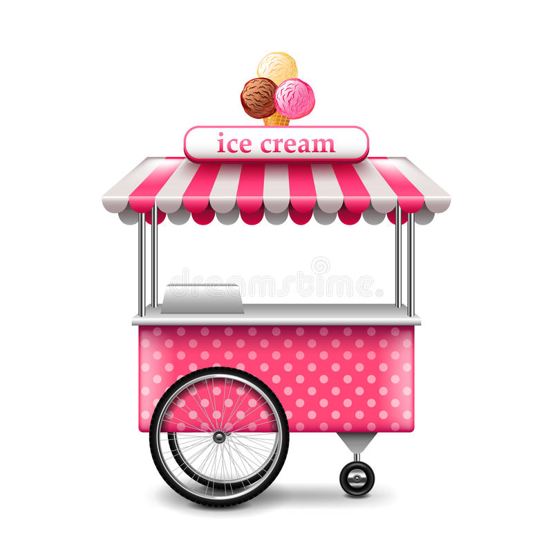 Ice cream cart on white vector. Ice cream cart on white photo-realistic vector illustration vector illustration