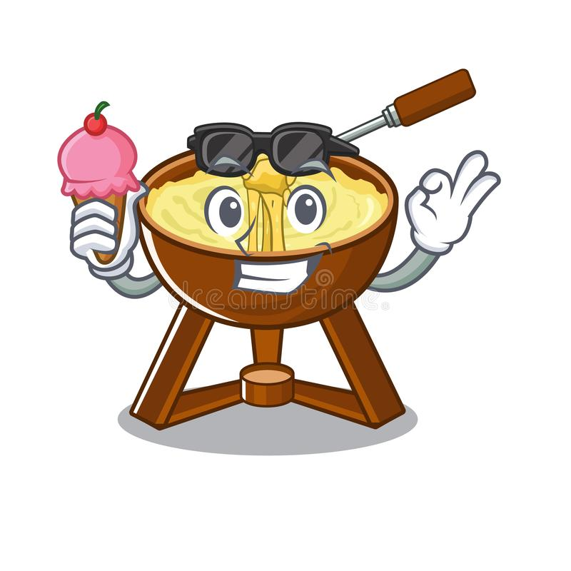 With ice cream cheese fondue with in mascot shape. Vector illustration vector illustration