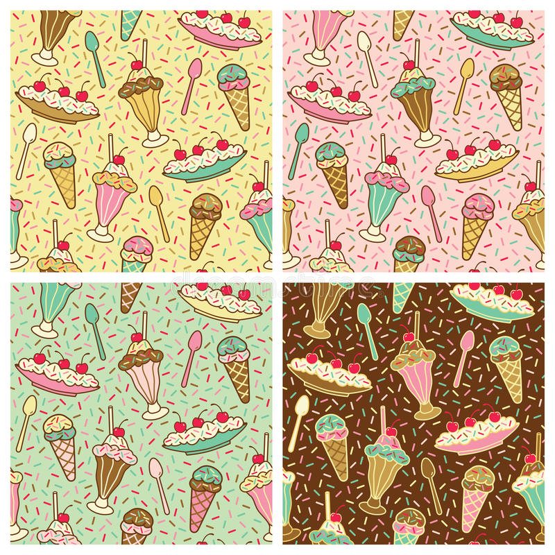 Ice Cream, Cherries And Sprinkles Pattern. A seamless pattern of ice cream desserts with cherries and sprinkles in four colorways. Repeat size is 6.3125 inches royalty free illustration