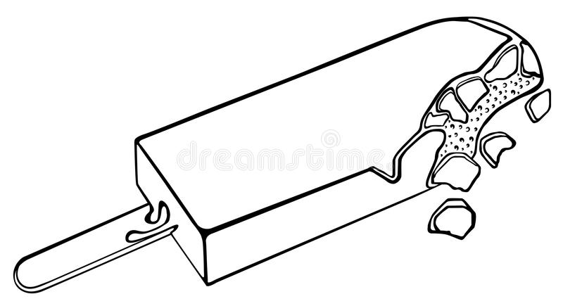 Ice cream in chocolate on a stick. Line drawing. royalty free illustration