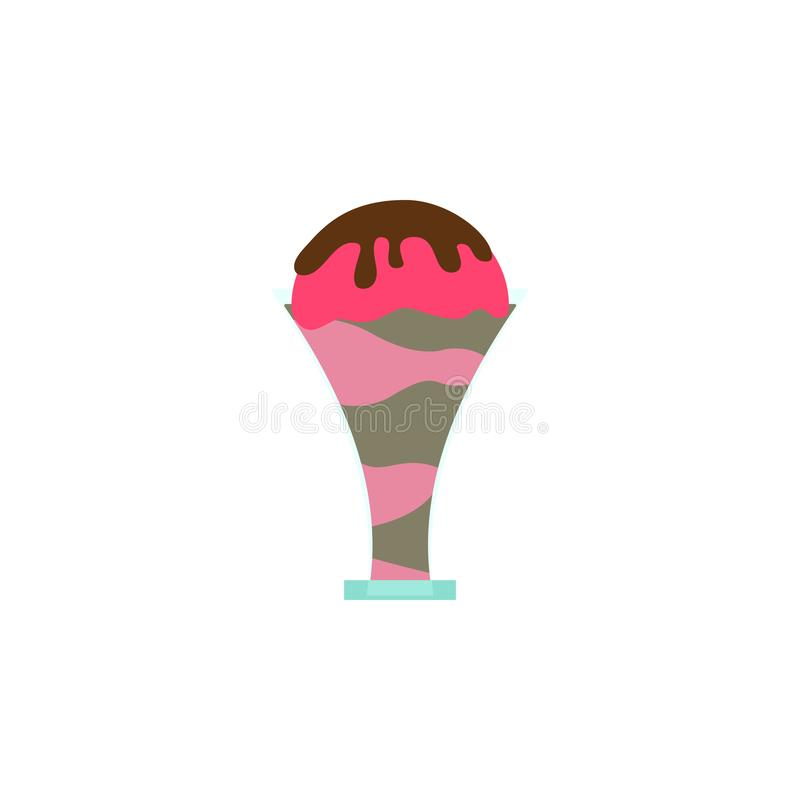 Ice cream chocolate strawberry colored icon. Element of ice cream illustration icon. Signs and symbols can be used for web, logo, stock illustration