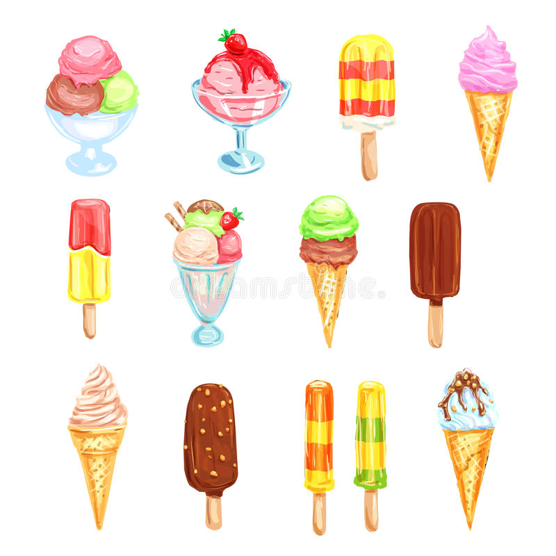 Ice cream, cold dessert food watercolor set. Ice cream cone, bar on stick, sundae ice cream scoop, popsicle and gelato with vanilla, chocolate, mint and fruit vector illustration