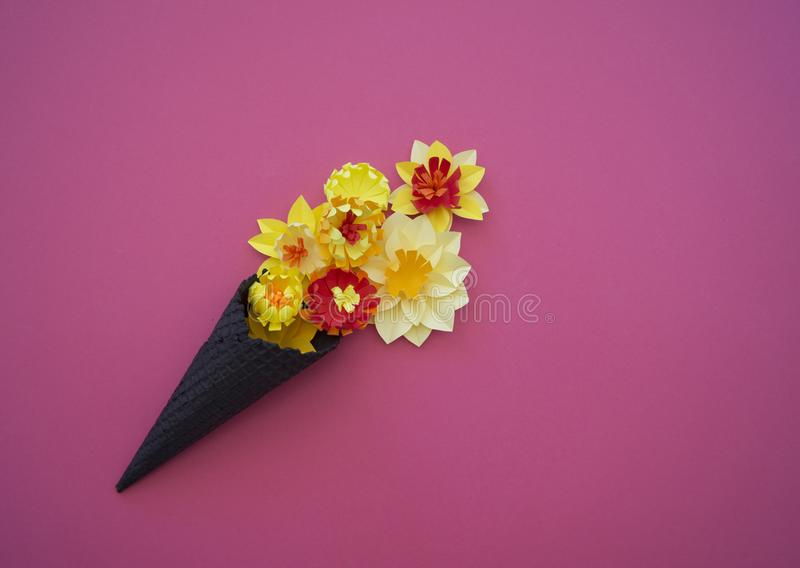 Download Ice Cream Cone With Flowers And Leaves On Pink Background Flat Lay Stock