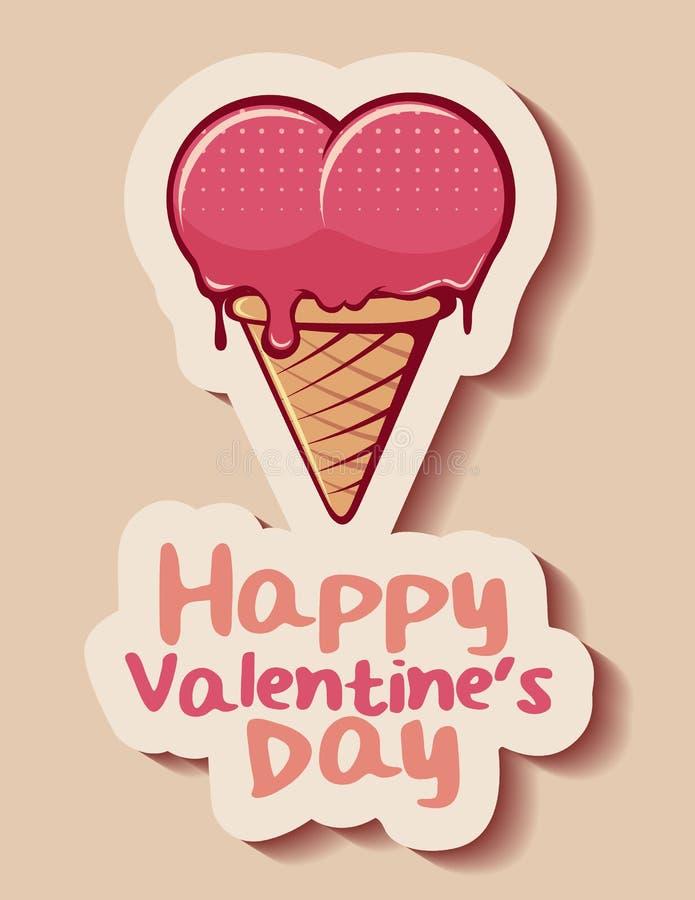 Ice cream cone happy valentine`s day. Illustration stock illustration