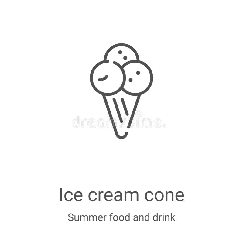 Ice cream cone icon vector from summer food and drink collection. Thin line ice cream cone outline icon vector illustration. Linear symbol for use on web and royalty free illustration