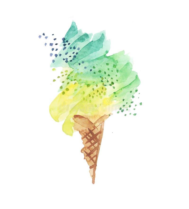 Free Ice-cream Cone Illustration. Watercol Stock Photo - 73868450