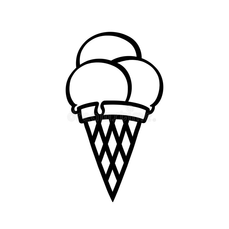 Black And White Line Art Icon Ice Cream. Stock Vector - Illustration of  frozen, card: 110195000