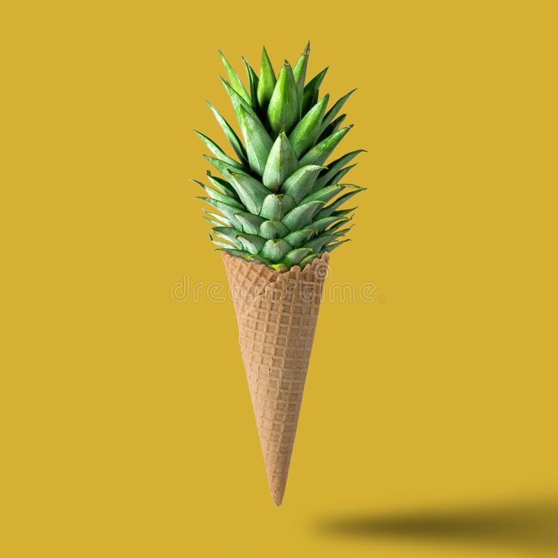 Ice cream cone with pineapple leaves stock photography