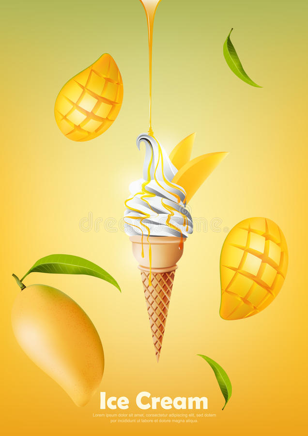 Ice cream in the cone, Pour mango syrup and a lot of mango background, transparent Vector. Eps10 royalty free illustration