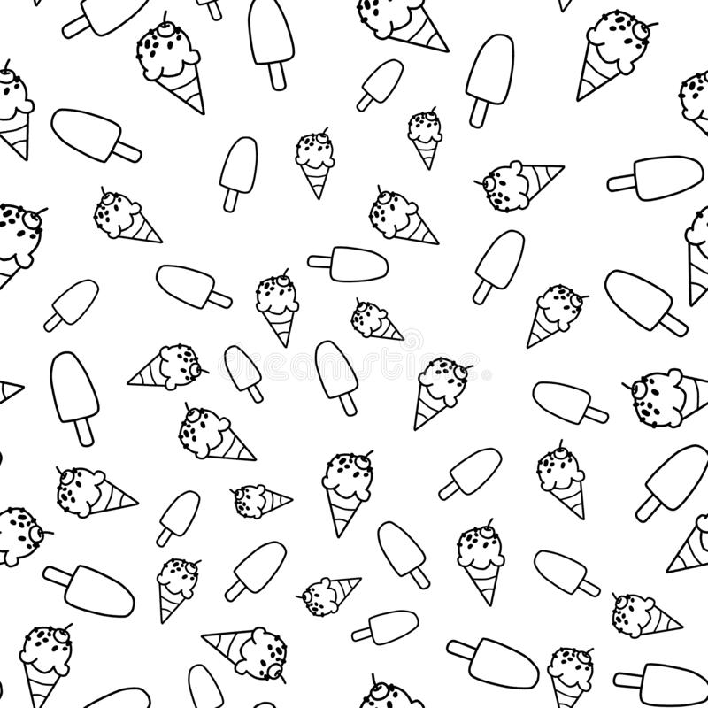 Ice cream cone seamless pattern in white background, black and white pattern vector illustration