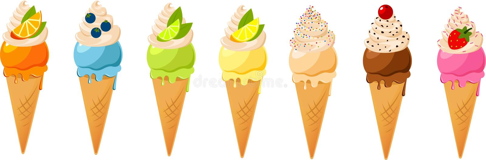 Download Ice cream cones stock illustration. Image of frozen, cone - 28032238