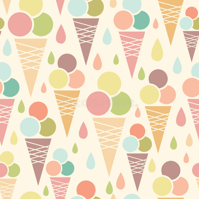 Pattern Cute Colorful Ice Cream Textiles Stock Vector: Ice Cream Cones Seamless Pattern Background Stock Vector