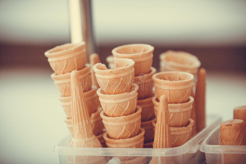 Ice cream cones. Summer and sweet food. Empty ice cream cones royalty free stock photography