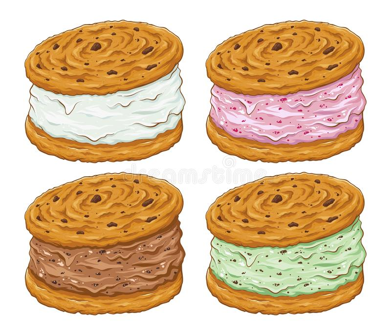 Ice Cream Cookie Sandwich in Various Flavor. Various flavor of ice cream cookie sandwich with chocolate chips, hand drawing vector illustration stock illustration