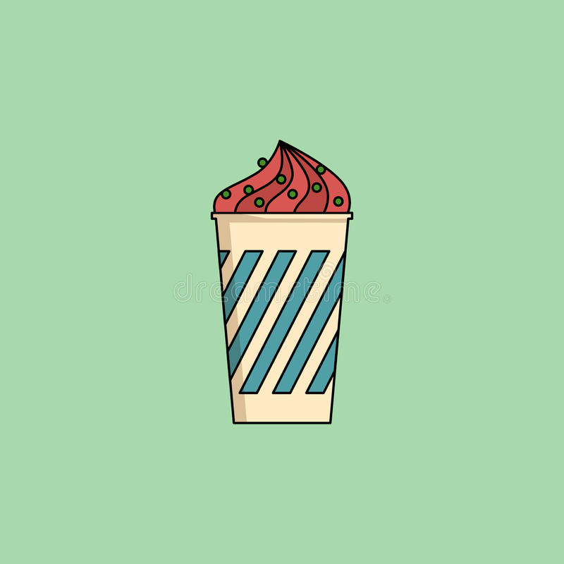 Ice cream in cup with sprinkling. Cute cartoon berry icecream in cup with candy sprinkling. Sundae flat icon on green background. Minimal line style, modern stock illustration