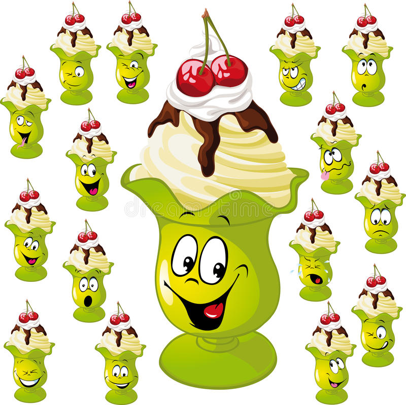 Free Ice Cream Cup With Many Facial Expressions Stock Image - 29053311