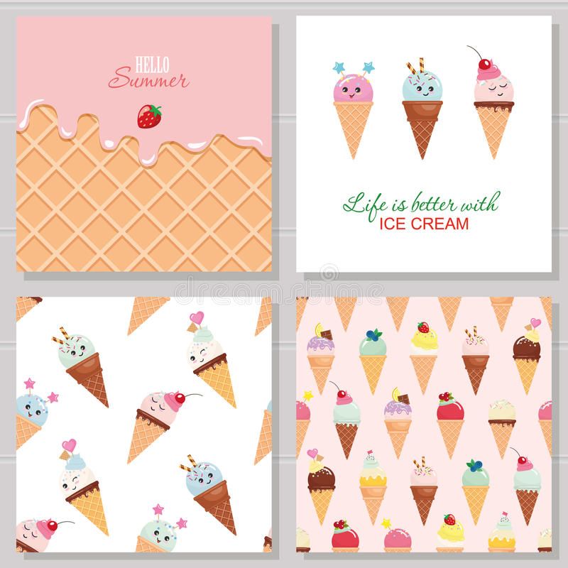 Ice cream cute cards and seamless pattern set. Kawaii cartoon characters. Wafer surface with melted strawberry cream. Hello summer design. Vector royalty free illustration