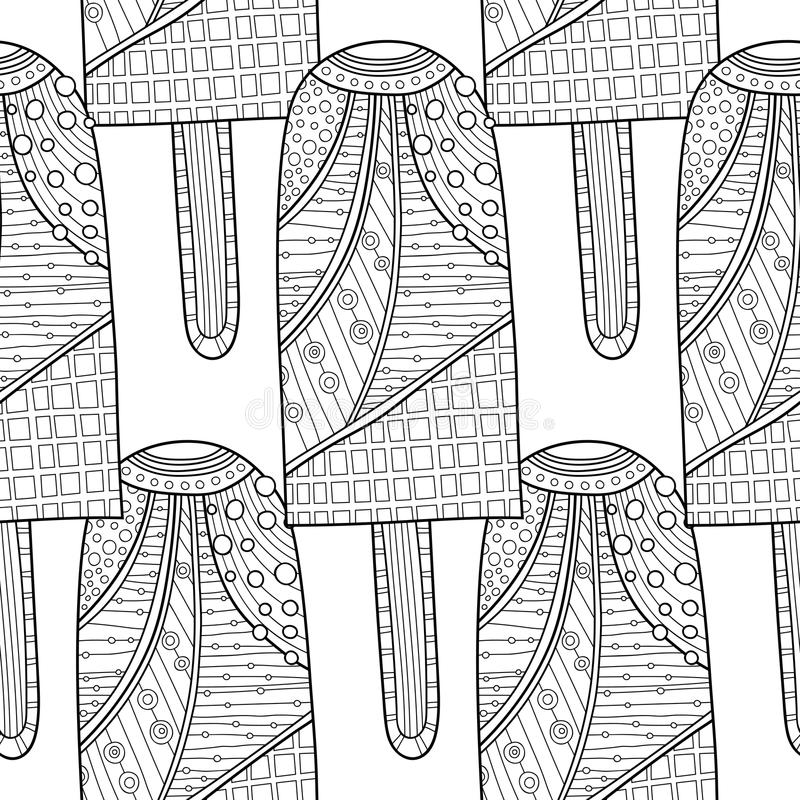 Free Ice Cream, Dessert. Black And White Illustration For Coloring Book. Seamless Decorative Pattern. Vector Royalty Free Stock Images - 89763259