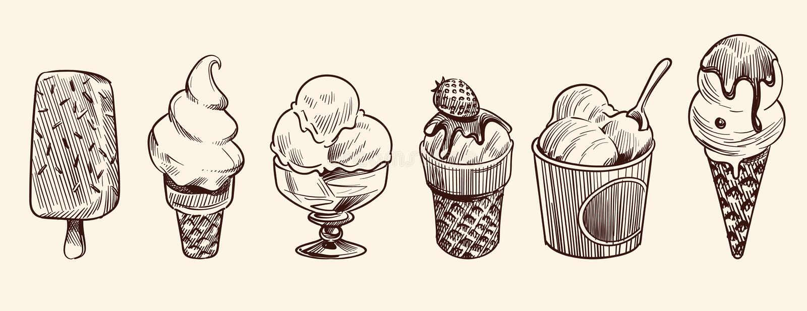 Ice cream dessert. Hand drawn black engraved vintage sweet delicious in bowl for restaurant isolated sketch vector set. Ice cream dessert. Hand drawn black royalty free illustration