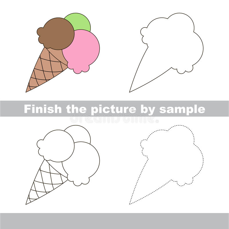 Ice Cream. Drawing Worksheet. Stock Vector - Illustration of logic ...