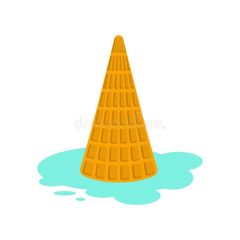 Ice cream dropped isolated. Milk dessert lying on floor. Vector stock illustration