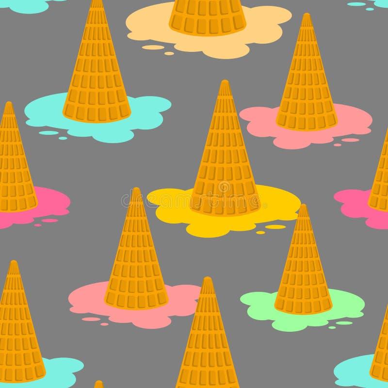 Ice cream dropped pattern. Milk dessert lying on floor ornament. vector illustration