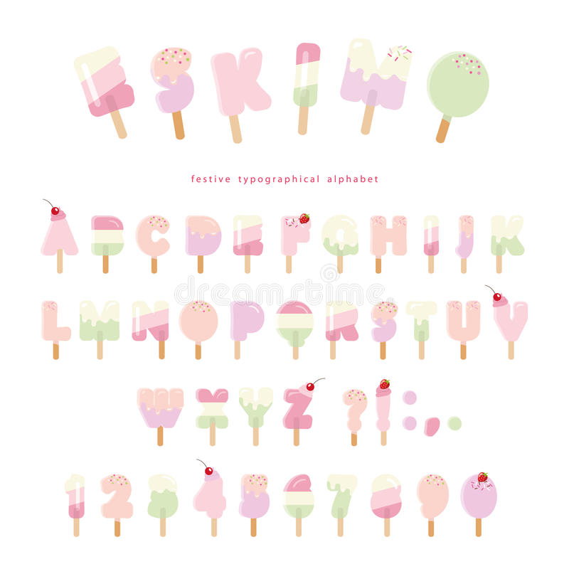 Ice cream eskimo font. Popsicle colorful letters and numbers can be used for summer design. Isolated on white. royalty free illustration