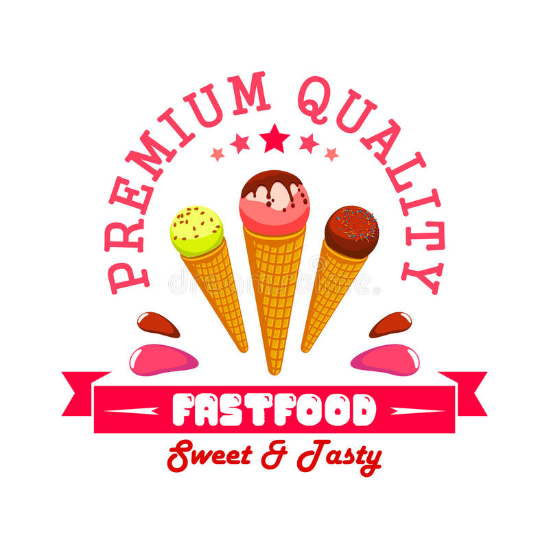 Ice cream fast food menu card sticker emblem. Ice cream fast food menu card sticker. Vector ice cream scoops in wafer cones. Fastfood summer cafe banner label vector illustration