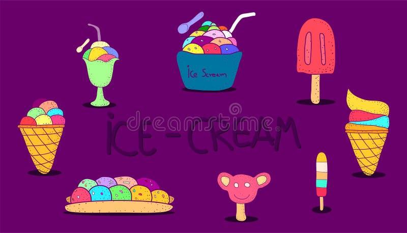 Ice-cream flat colorful design vintage style. vector illustration eps10 stock illustration