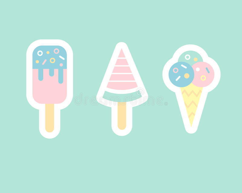 Ice cream flat sticker cons royalty free stock images