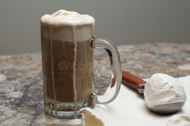 Ice cream float. A float made with soda and ice cream royalty free stock photo