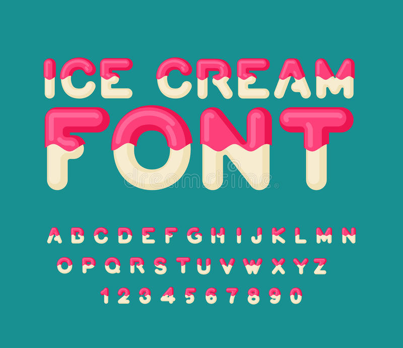 Ice cream font. Popsicle alphabet. Cold sweets ABC. Food typography. Edible letters. dessert lettering stock illustration