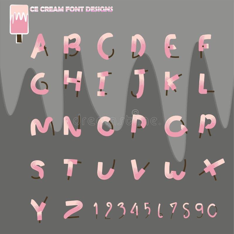 Ice cream font vector designs vector illustration