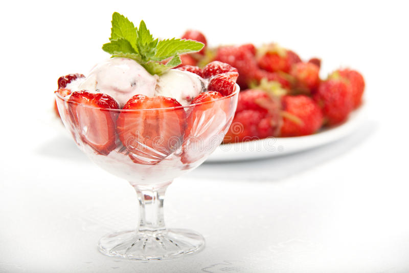 Ice-cream with fresh berries royalty free stock photo