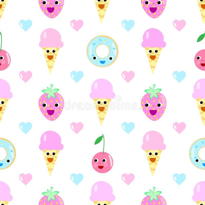 Ice cream fruit seamless pattern heart cartoon. Donut cake eyes strawberry cherry cake royalty free illustration