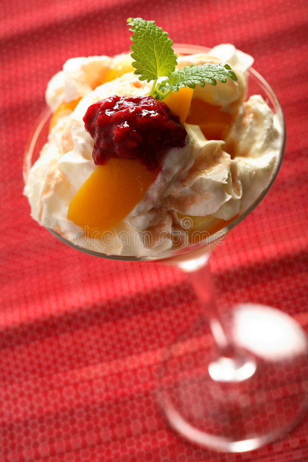 Ice cream with fruits mousse royalty free stock image