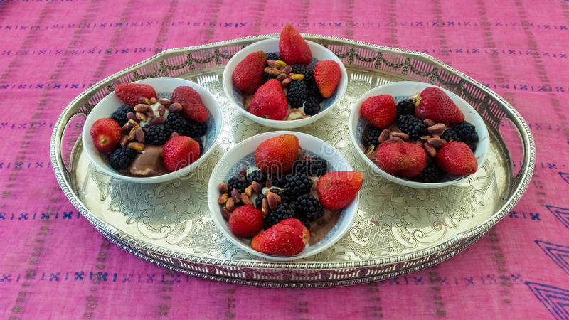 Ice Cream With Fruits. Served in Bowl royalty free stock photography