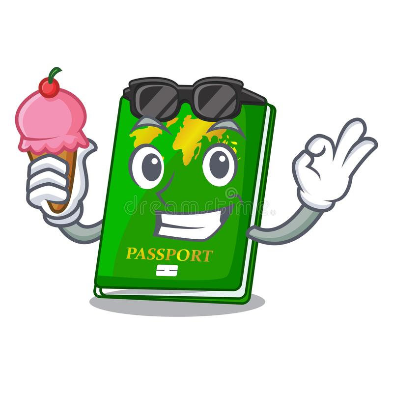 With ice cream green passport in the cartoon shape. Vector illustration royalty free illustration